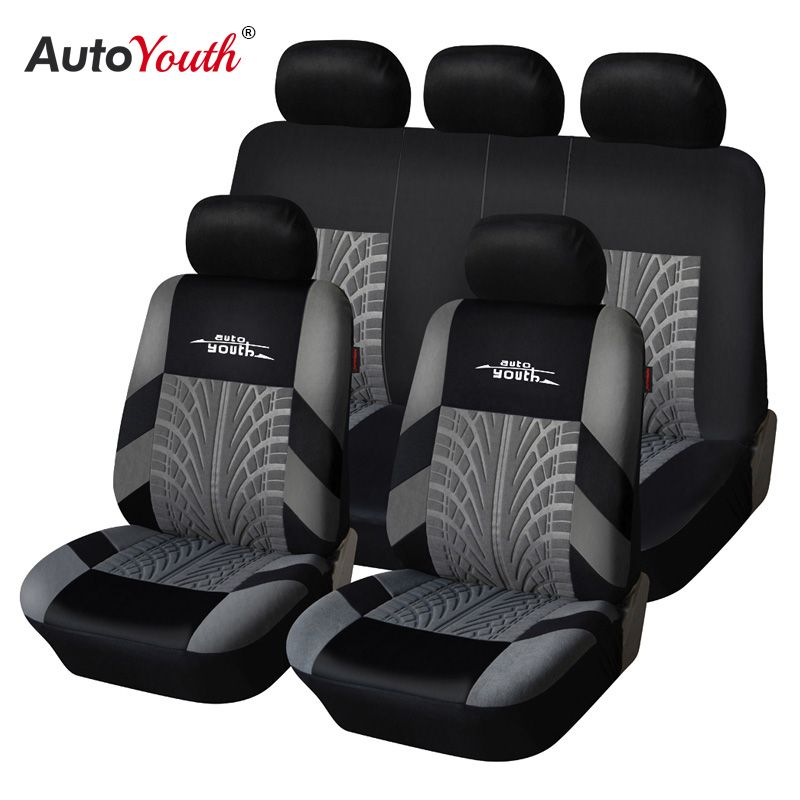 AUTOYOUTH Brand Embroidery Car Seat Covers Set Universal Fit Most Cars Covers with Tire Track Detail Styling Car Seat Protector