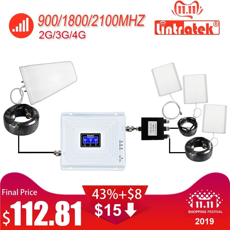 Tri Band Handy Signal Repeater 2G 3G 4G 900 1800 2100 GSM 3 stücke Interne Antenne set Booster Verstärker GSM WCDMA LTE #40