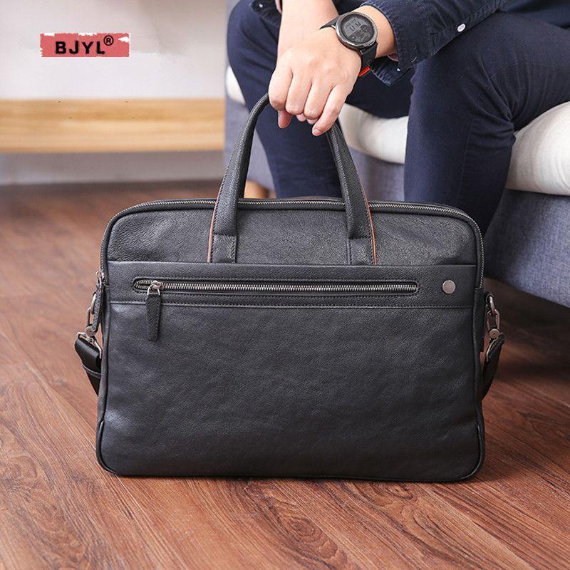 BJYL männer handtasche leder business casual einzelner schulter tasche große kapazität kopf schicht rindsleder computer Aktentasche