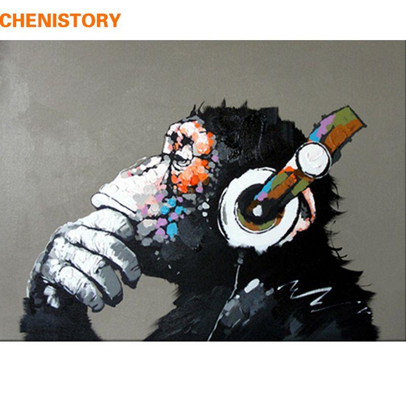 CHENISTORY abstrait singe peinture à la main par numéros maison mur Art photo peinture par numéros calligraphie peinture 40x50cm oeuvre