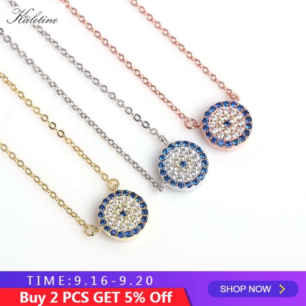 KALETINE véritable 925 collier en argent Sterling turquie ronde mauvais œil colliers AAA CZ pour les femmes lien chaîne bijoux 2019 KLTN021