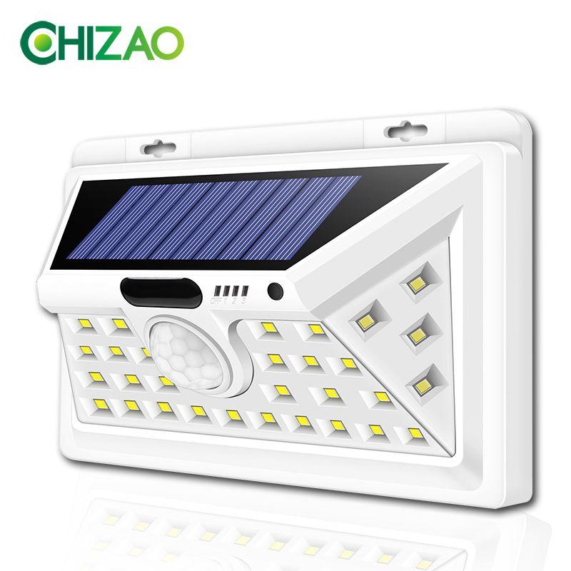 CHIZAO LED lampes solaires en plein air capteur de mouvement lampes murales étanche lumière de secours adapté à la clôture de Garage de porte avant de jardin