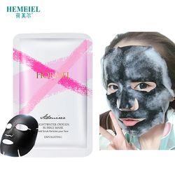 HEMEIEL Detox Oxygen Bubble Mask Facial Moisturizing Bamboo Charcoal Black Face Mask Sheet Whitening Skin Care Treatment Mask