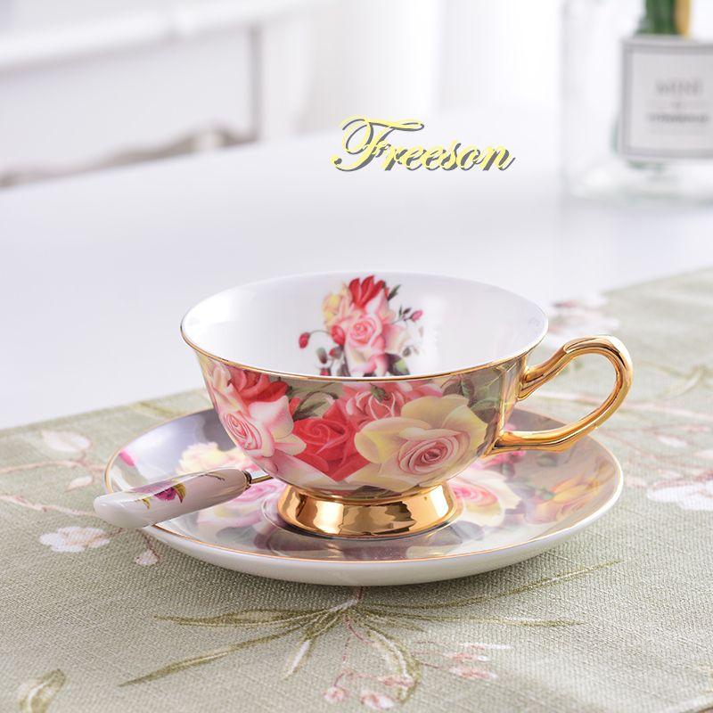 Vintage Rose Bone chine thé tasse soucoupe cuillère ensemble 200ml avancé porcelaine tasse à café britannique café après-midi thé livraison directe