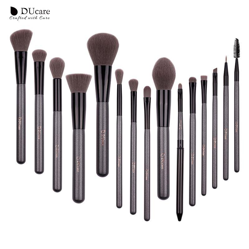 Ensemble de pinceaux de maquillage DUcare 15 pièces ensemble de pinceaux professionnels de haute qualité avec miroir Portable pinceaux de maquillage cosmétiques avec sac