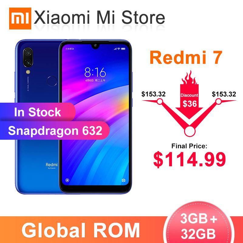 In Stock Global ROM Xiaomi Redmi 7 3GB 32GB Smartphone Snapdragon 632 4000mAh Battery 6.26