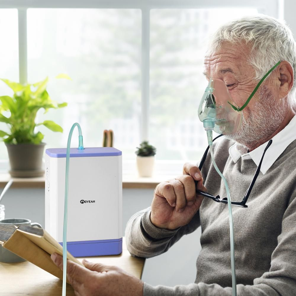 Tragbare Hause Sauerstoff Generator Medizinische Maschine 6L/Min Li Batterie Sauerstoff Konzentrator Mit Nasen Kanüle Auto Reise Luftreiniger