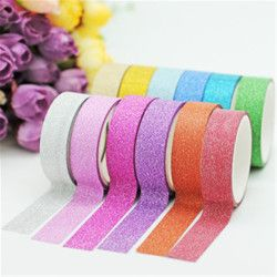 15mm*5m Glitter Washi Tape Set Japanese Stationery Scrapbooking Decorative Tapes Adhesive Tape Kawai Adesiva Decorativa
