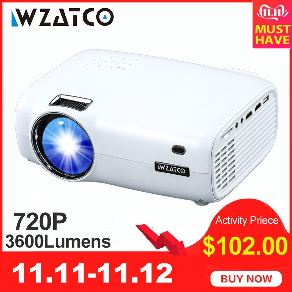 WZATCO E600 Android 9.0 Wifi Mini projecteur LED Portable intelligent prise en charge HDMI Full HD 1080p 4K vidéo cinéma maison projecteur