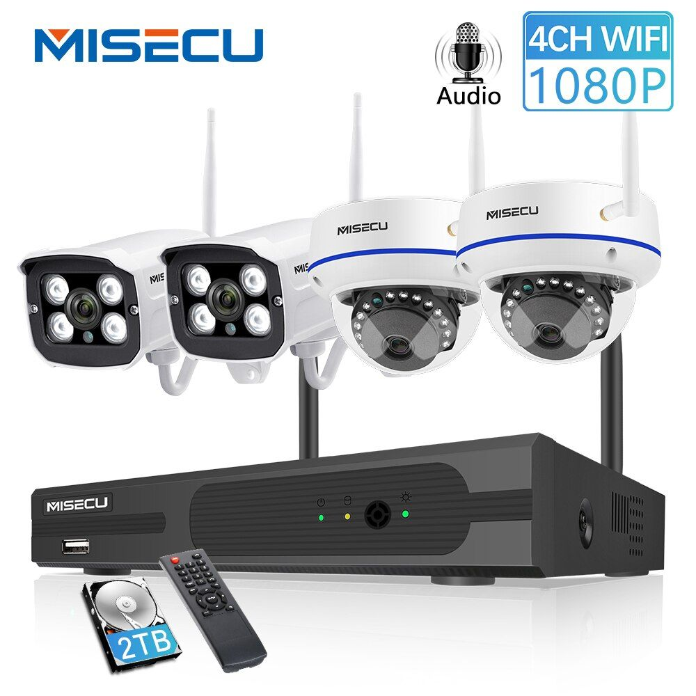 MISECU 4CH 1080P Drahtlose CCTV System 2MP IP Kamera Audio Wasserdichte Outdoor Indoor WIFI Kamera System Video Überwachung Kit