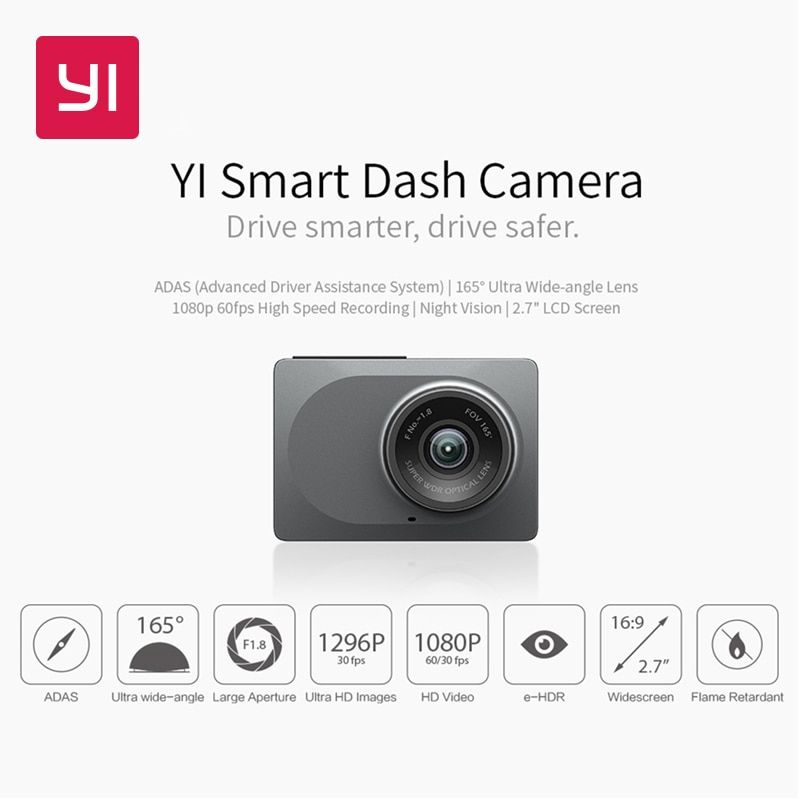 YI caméra de tableau de bord intelligente Version internationale WiFi Vision nocturne HD 1080P 2.7 165 degrés 60fps ADAS