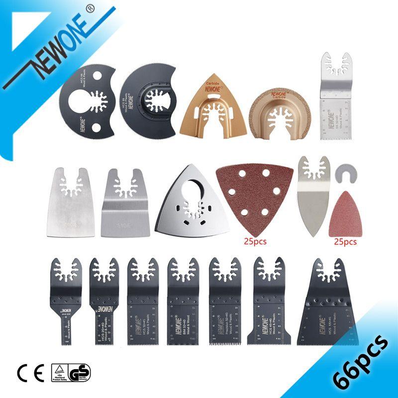 66 pièces outil oscillant lame de scie accessoires pour outil électrique multifonction comme Fein outil électrique etc., bois métal coupe, bricolage à la maison