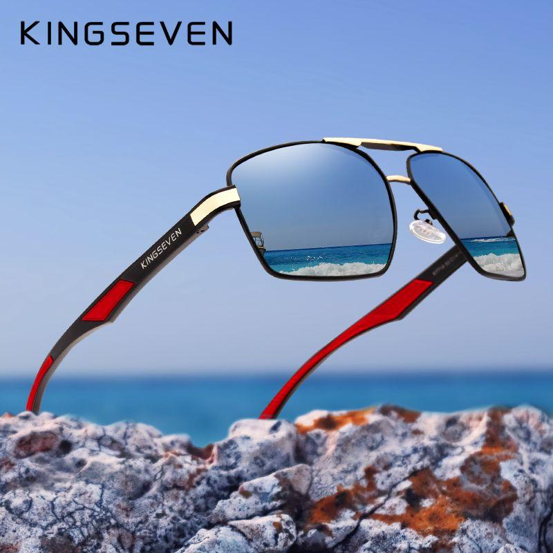 Kingseven - lunettes de soleil pour hommes, lunettes de soleil en aluminium pour hommes, lunettes de soleil à verre polarisé et design rouge temples, lunettes à miroir, 7719