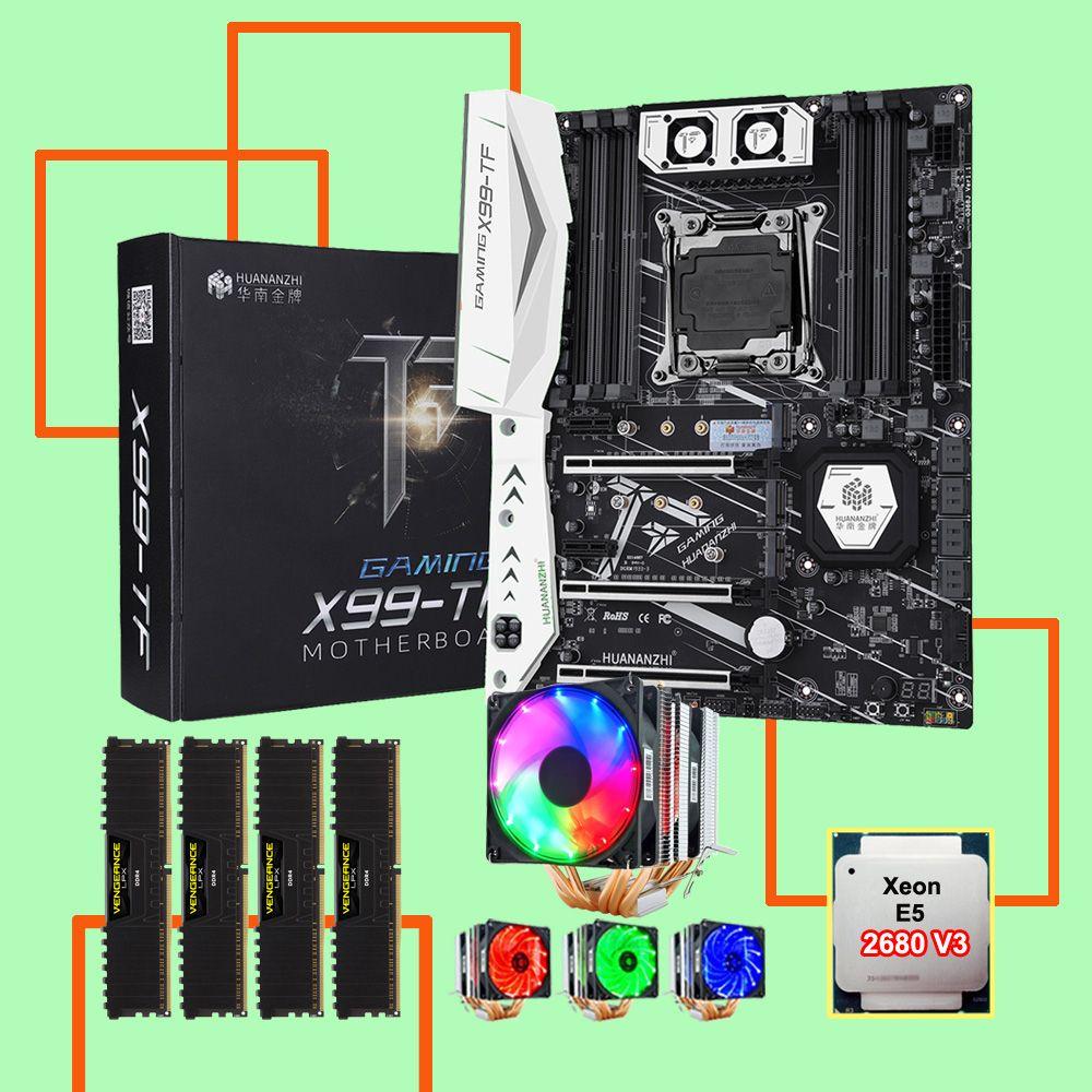 HUANANZHI X99-TF LGA2011-3 motherboard bundle mit DUAL M.2 NVMe SSD slot M.2 WIFI slot CPU 2680 V3 RAM 64G (4*16G) DDR4 2400