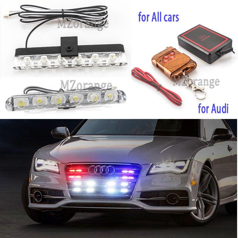 2x6 LED lumières de police straboscope lumières stroboscopiques sur une voiture lumière de Police lumières de secours clignotant de police LED voiture lumière stroboscopique