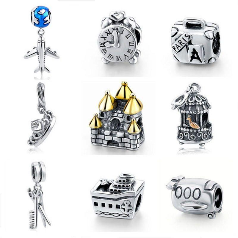 Pendentif breloques avion horloge couronne maison cage à oiseaux fit bracelet Pandora 925 argent sterling perles originales pour les femmes bijoux à bricoler soi-même