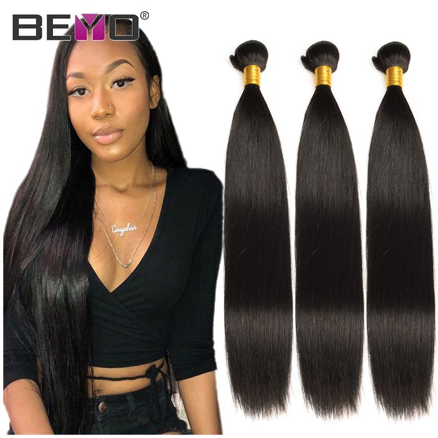 Beyo paquets de cheveux raides 100% paquets de cheveux humains Extensions de cheveux non-remy 1/3/4 paquets offres 8-28 pouces paquets de cheveux indiens