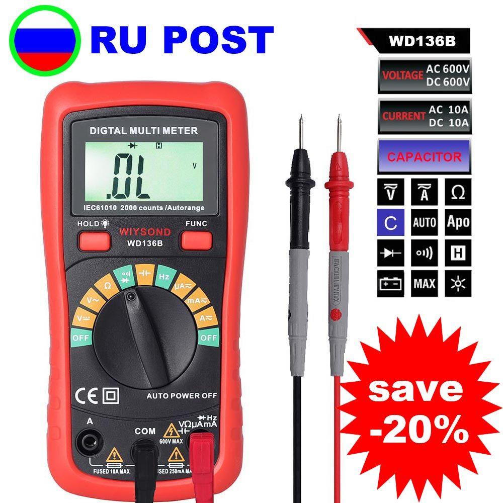 M082 WD136B multimètre numérique DMM AC cc V A R C F 2000uF capacité compteur de fréquence rétro-éclairage vs UT136B MS8233D