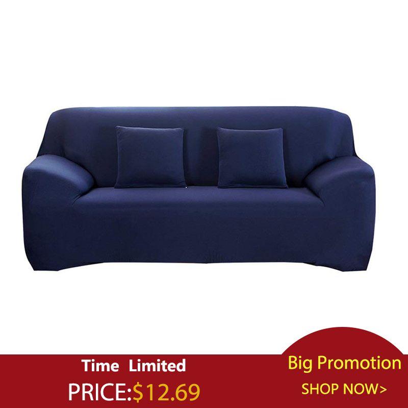 Couleur unie housse de canapé grande élasticité Stretch housse de canapé causeuse canapé d'angle canapé serviette couverture de meubles 1/2/3/4 places
