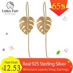Lotus Fun Real 925 Sterling Silver Creative Handmade Design Fine Jewelry 18K Gold Monstera Leaves Drop Earrings for Women Bijoux