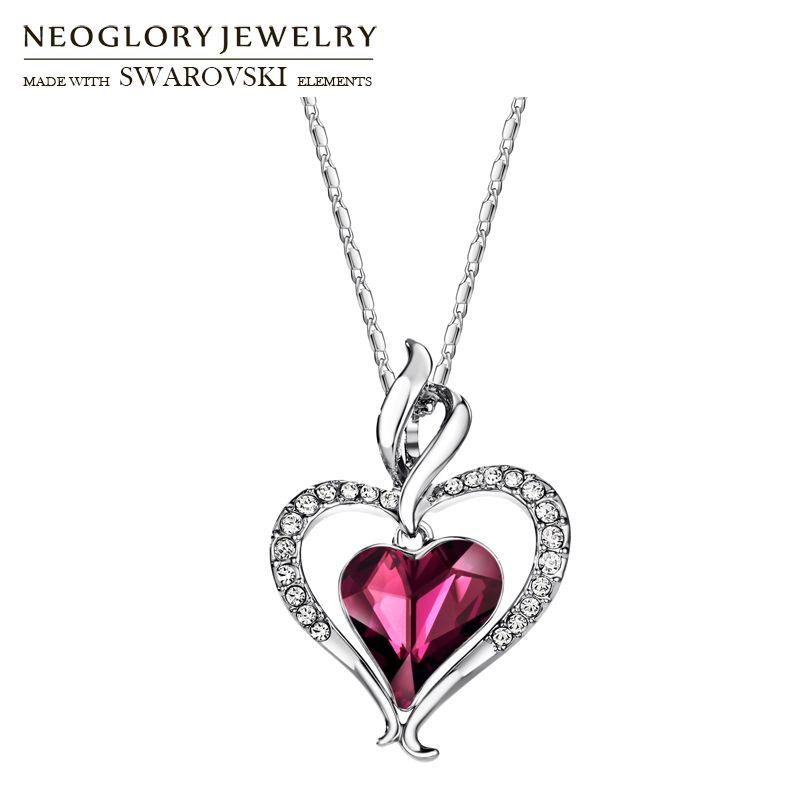 Neoglory autriche cristal & strass Long pendentif à breloque collier déclaration Double amour coeurs à la mode cadeau pour les femmes quotidien