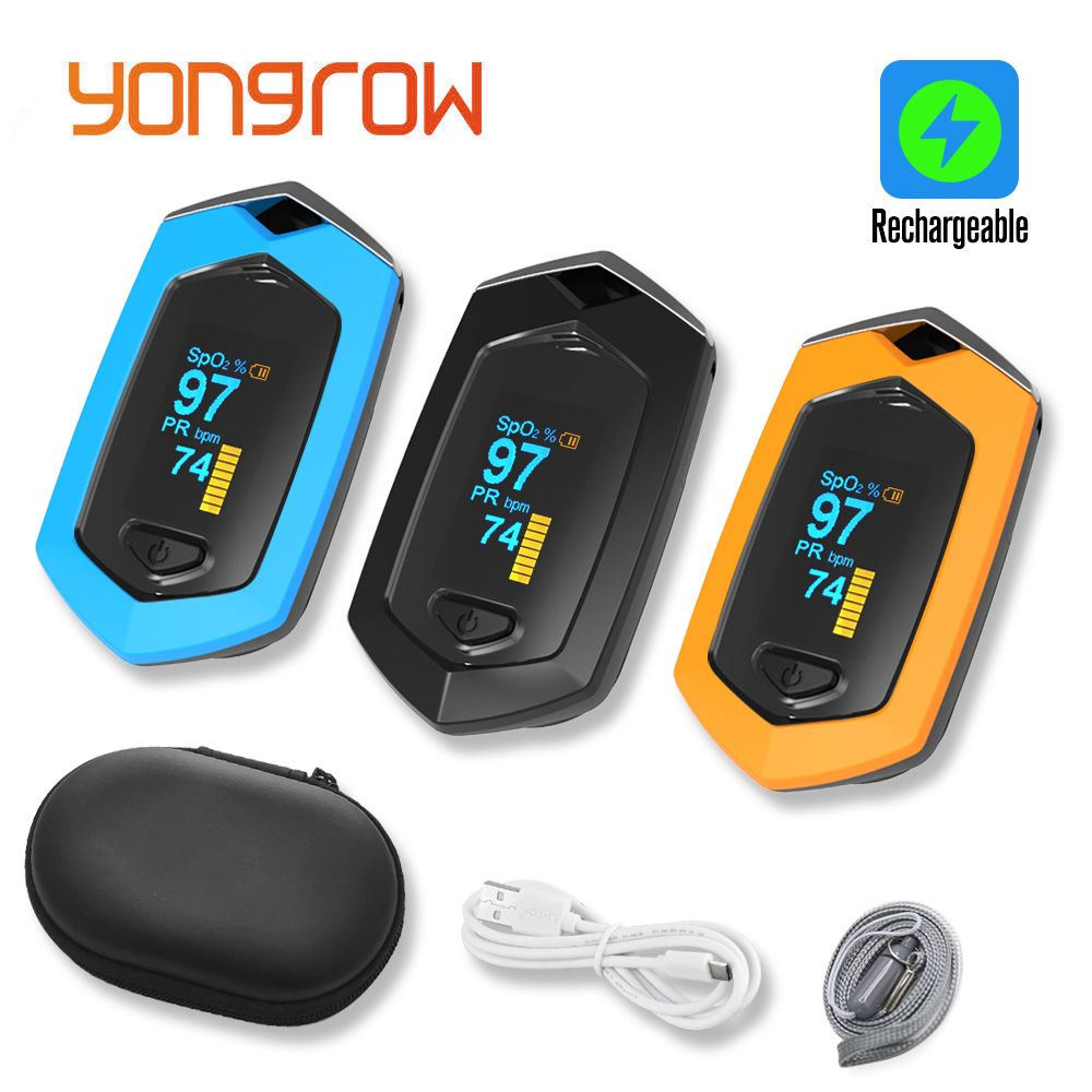 Yongrow Medical Sport Finger Pulse Oximeter Blood Oxygen Saturation sport movement Pulse Oximeter Rechargeable SPO2 Pulse rate