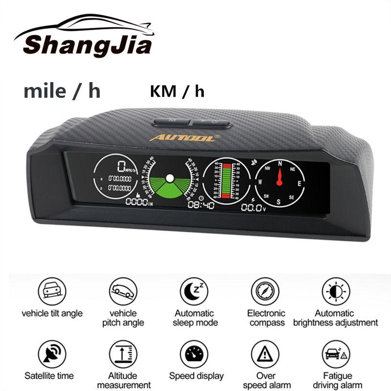 AUTOOL X90 Vitesse GPS Pente Compteur Inclinomètre Voiture HUD Automobile Inclinaison Angle D'inclinaison Rapporteur Latitude Longitude Boussole Intelligente