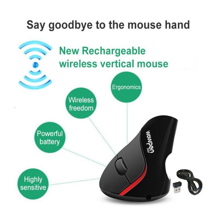 Souris d'ordinateur Rechargeable ergonomique sans fil verticale Usb optique 3d PC souris de jeu 2.4Ghz 1600 DPI pour ordinateur portable Macbook
