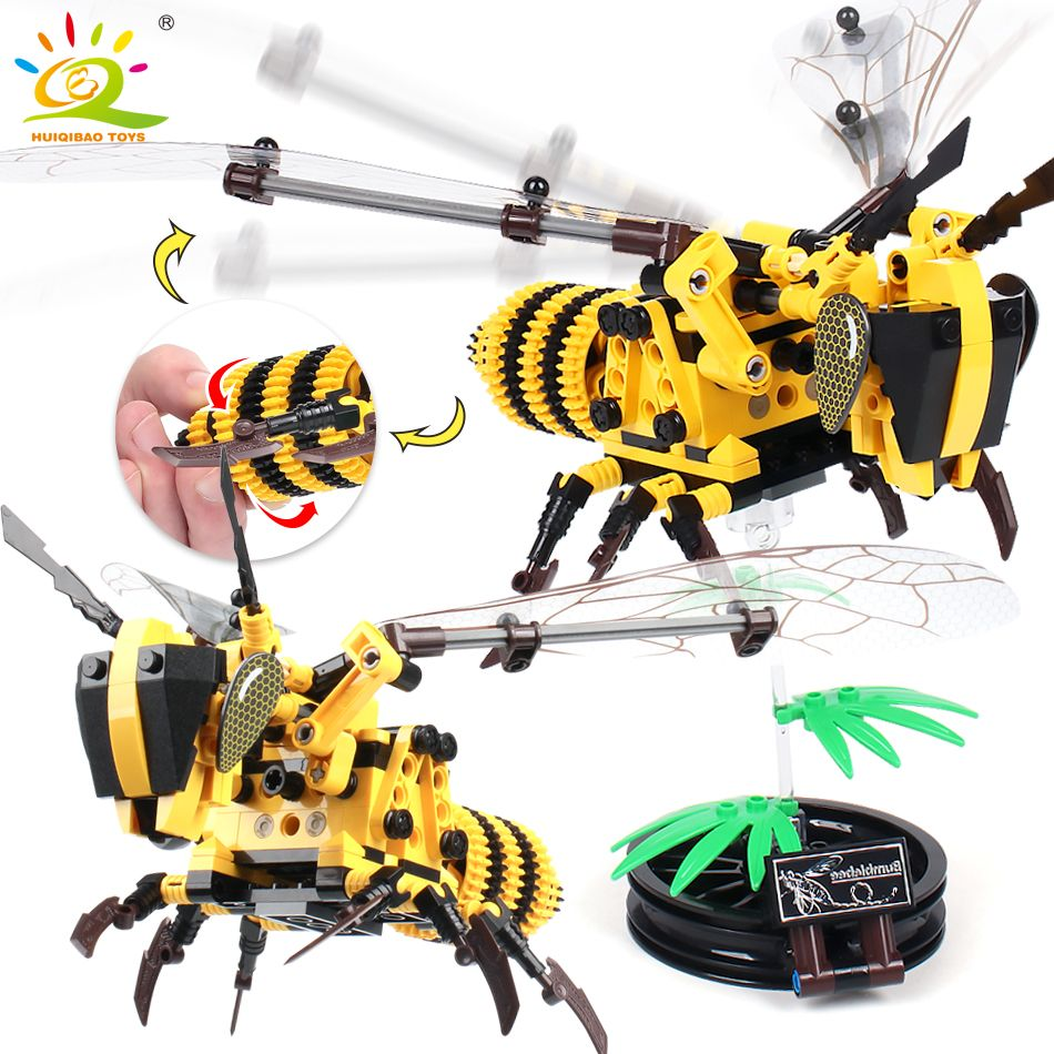 236 pieces Simulated insect DIY Bee Wasp Building Blocks Compatible legoingly Technic animals hornet city Bricks Set Educational construction Toys for Children Gift