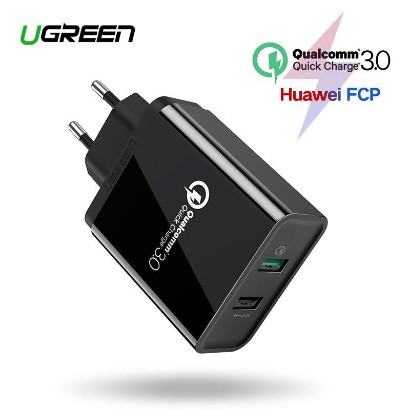 Chargeur mural USB Ugreen 3.0 30W QC pour Samsung Xiaomi iPhone X QC3.0 chargeur rapide de téléphone portable adaptateur EU