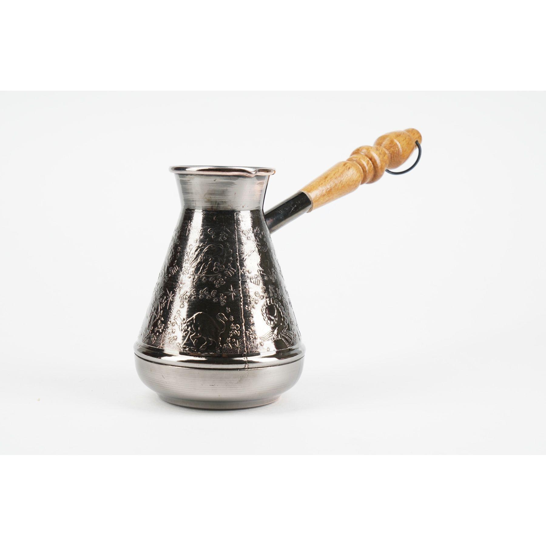 TURKA FÜR kaffee mit geschnitzten holzgriff zinn überzogen. 700 ml.