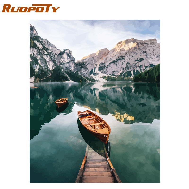Cadre RUOPOTY lac de montagne peinture à la main par numéros paysage peint à la main peinture à l'huile moderne maison mur Art toile peinture Art