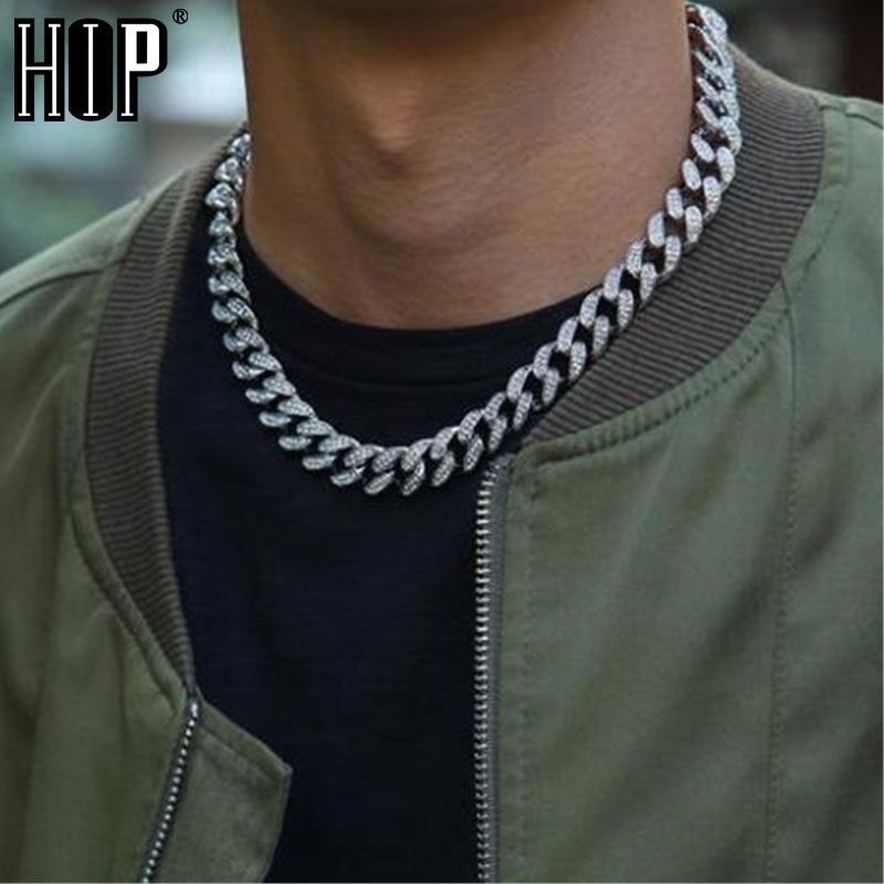 Hip Hop Iced Out Paved Rhinestones 1Set 13MM Gold Silver Full Miami Curb Cuban Chain CZ Bling Rapper Necklaces For Men Jewelry