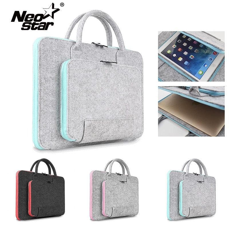 Sac pour ordinateur portable en feutre en laine pour Mac 11 13 15 17 souris sacs porte-documents pour Macbook Air Pro Retina pour Lenovo housse pour ordinateur portable