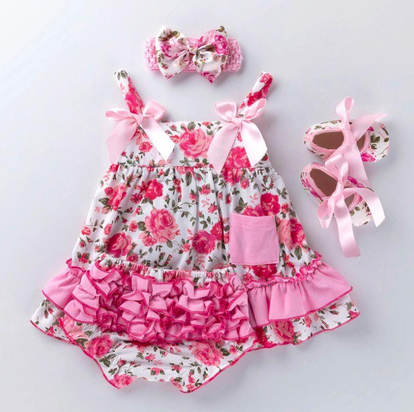 Mode bébé fille dentelle fronde robe à volants Bloomers sous-vêtements enfant en bas âge chaussures vêtements ensembles nouveau coton robe d'été nouveau-né cadeau pour bébé