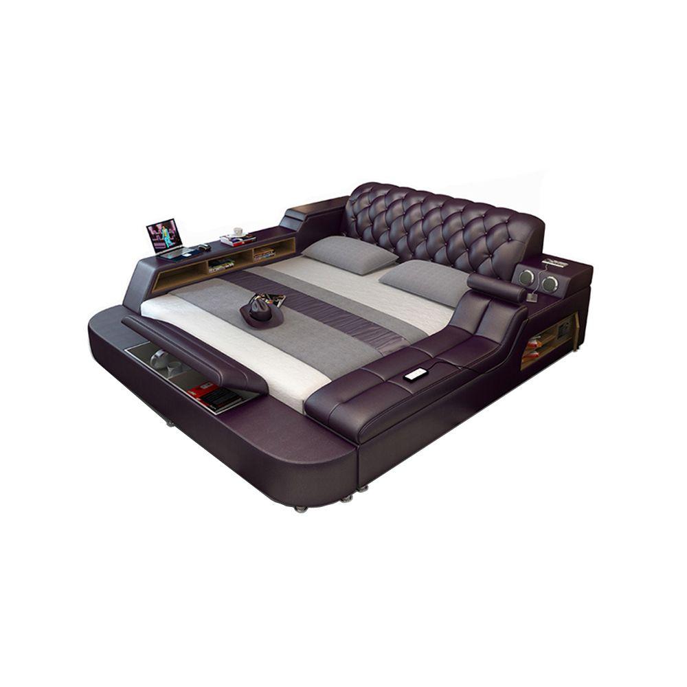 Echtes leder bett rahmen Weiche Betten massager lagerung sichere lautsprecher LED licht Schlafzimmer cama muebles de dormitorio/camas quarto