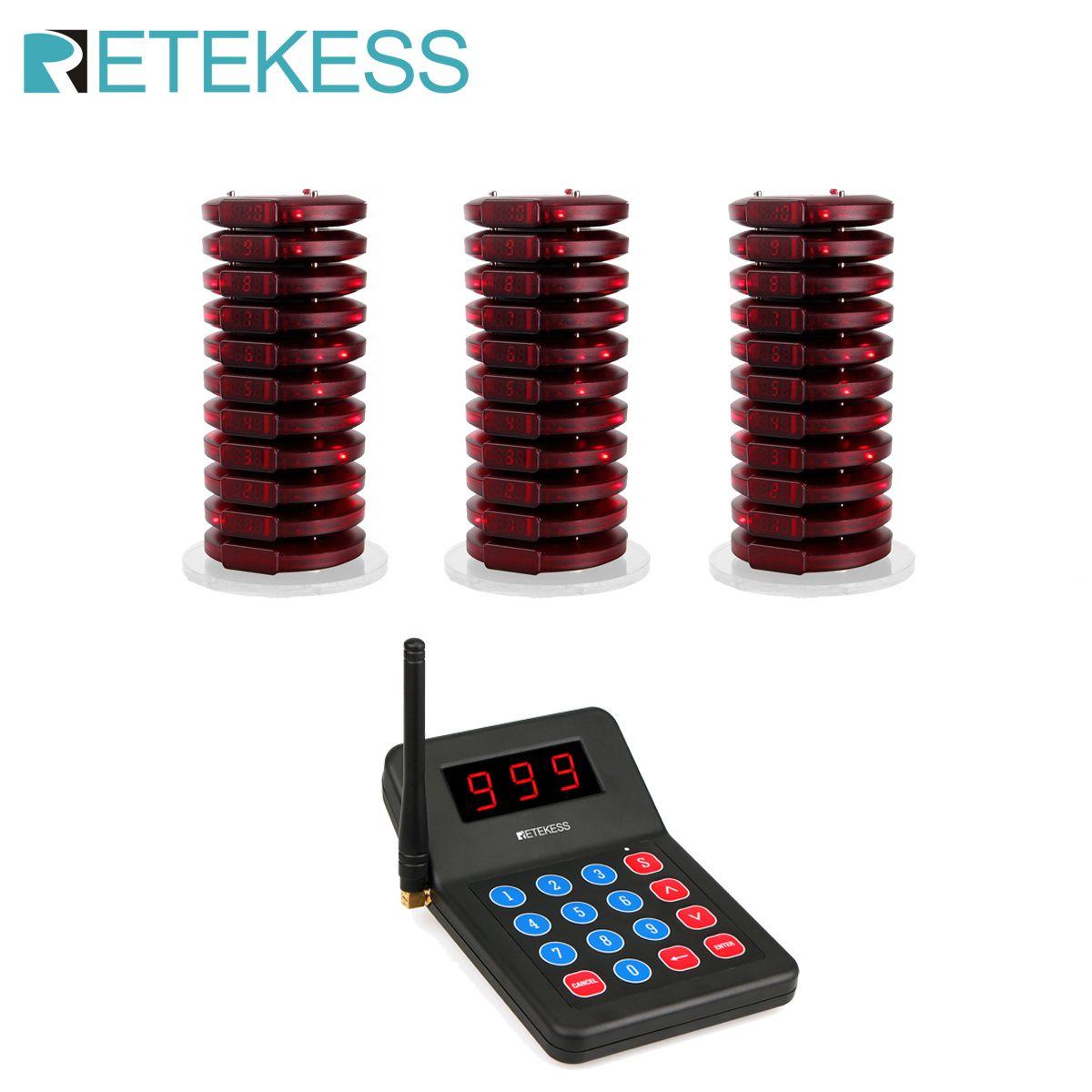RETEKESS 999 Kanal Restaurant Pager Wireless Paging-Queuing Aufruf System Summer Für Cafe Shop Kirche Restaurant Ausrüstung