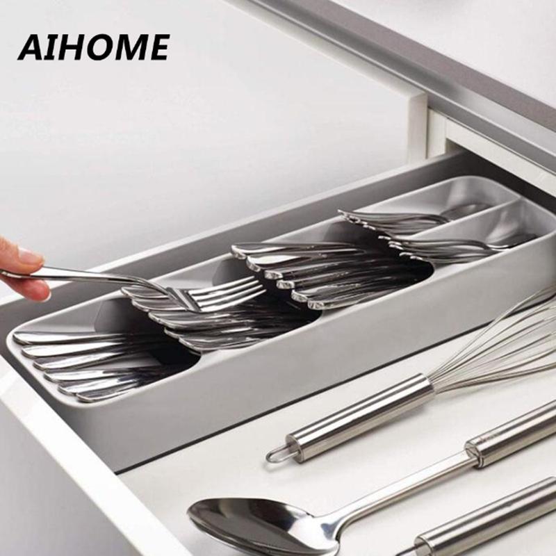 Écologique cuisine tiroir organisateur plateau cuillère couteau fourchette vaisselle séparation finition boîte de rangement couverts organisateur