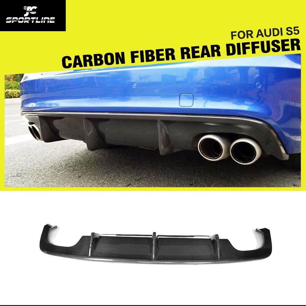 Carbon Fiber Auto Hinten Diffusor Lip Spoiler Stoßstange Wache für Audi A5 Sline S5 4 Tür 2 Tür Limousine Coupe cabrio 2012-2016
