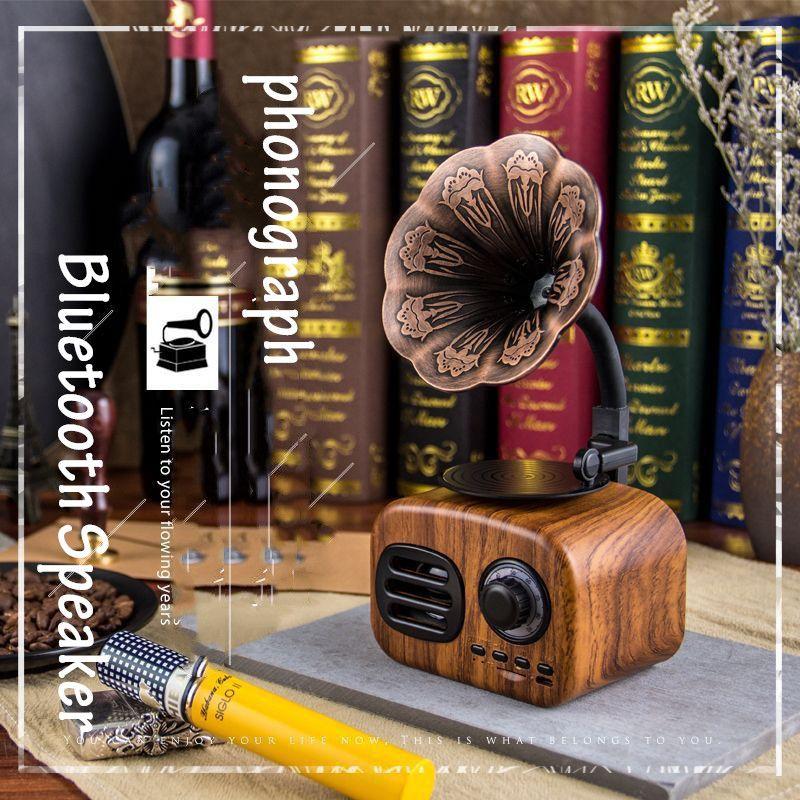 Retro phonograph wireless Handsfree FM Radio Loudspeaker portable boombox subwoofer bluetooth speakers caixa de som altavoF4045A