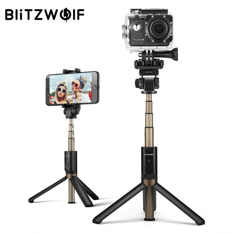 BlitzWolf 4 en 1 trépied de caméra bluetooth Selfie bâton monopode sans fil pour Gopro 5 6 7 caméra de sport pour iPhone X 8 Smartphone