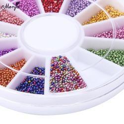 Monja 12 Warna 0.8 Mm Kuku Seni Kaca Mini Kaviar Manik-manik Mutiara 3D Pesona Rhinestones Dekorasi Aksesoris Roda
