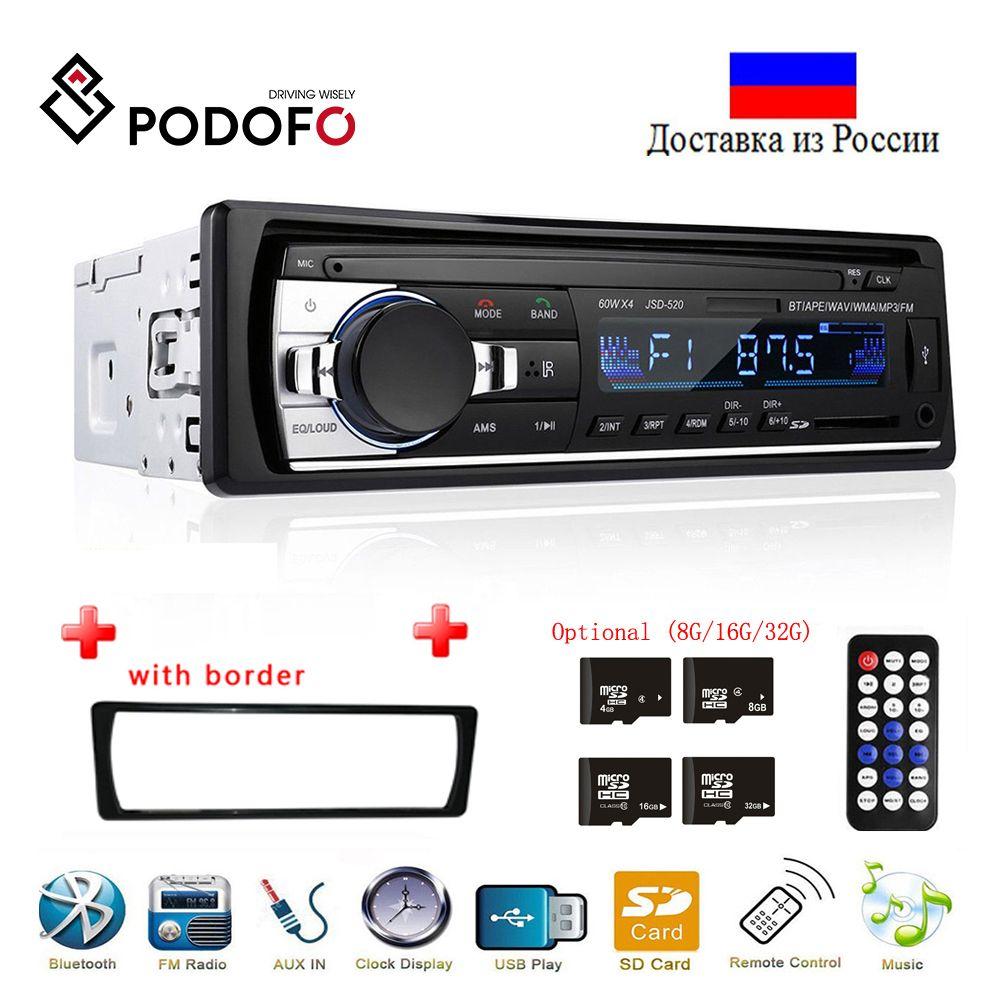 Podofo Autoradio JSD-520 12V In-dash 1 Din Bluetooth Car Radios SD MP3 Player Auto Audio Stereo FM Receiver Aux Input