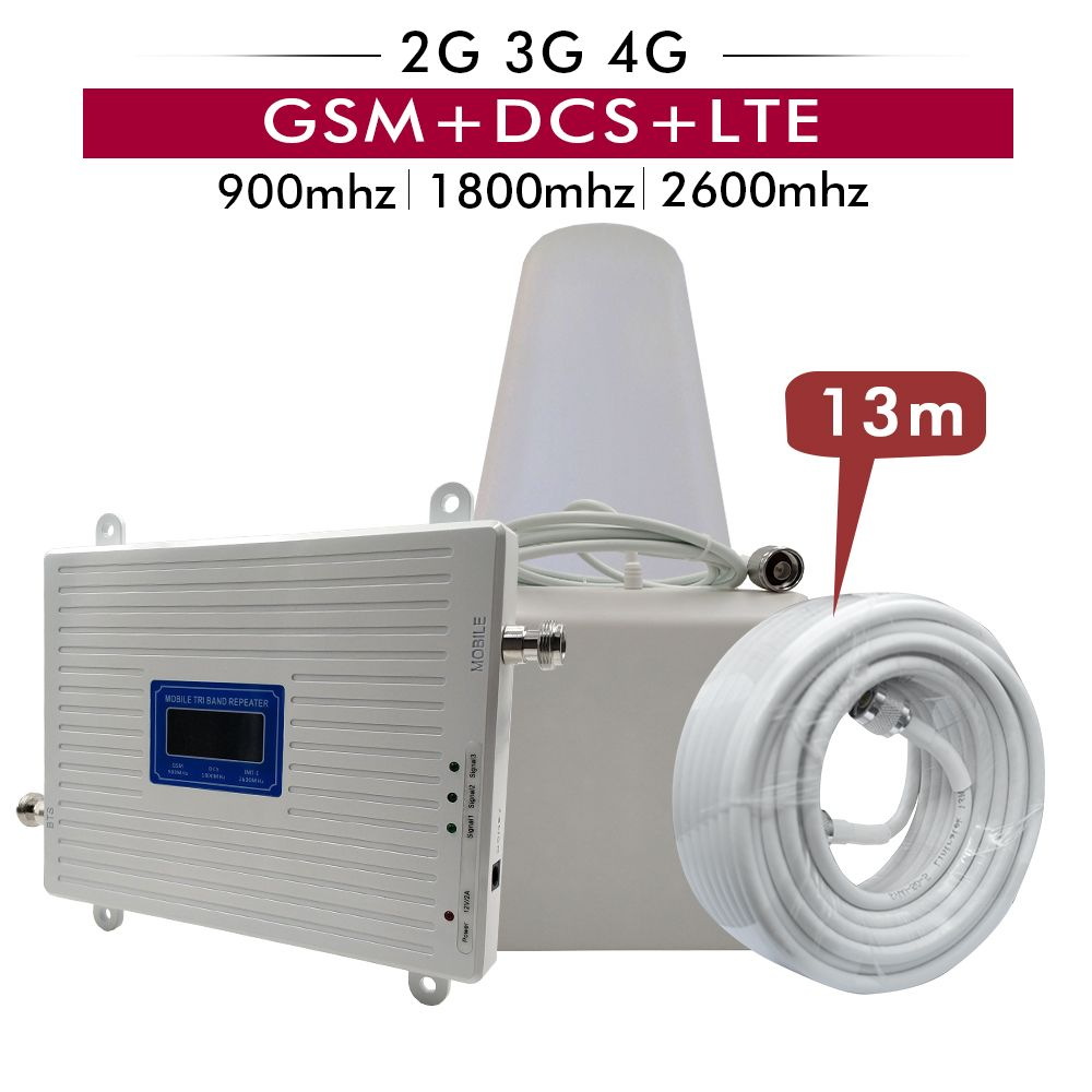 2G 3G 4G Tri Band Booster GSM 900MHz+DCS/LTE 1800(B3)+FDD LTE 2600(B7) Cell Phone Signal Repeater Cellular Amplifier Antenna Set
