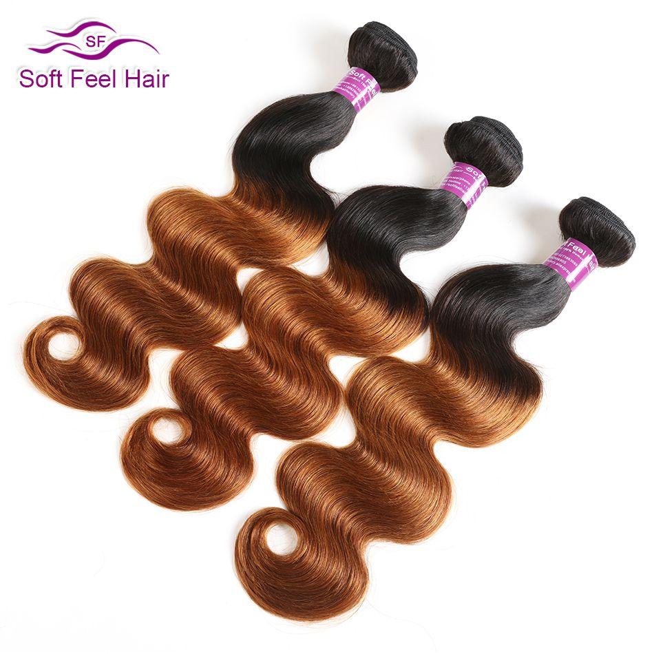 Doux sensation cheveux 1/3/4 pièces Ombre cheveux brésiliens vague de corps paquets T1B/30 Ombre cheveux humains armure faisceaux brun Remy Extensions de cheveux