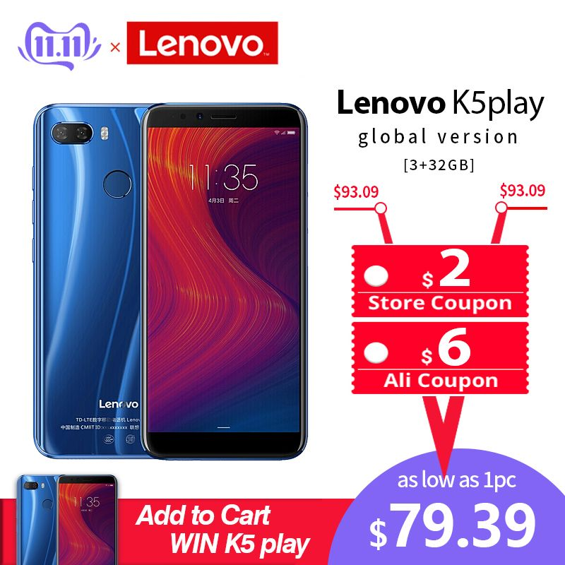 Lenovo Mobile Phone 3GB 32GB K5 Play Face ID 4G Smartphone 5.7 inch Snapdragon Octa Core Rear Camera 13MP 2MP Global Cellphone