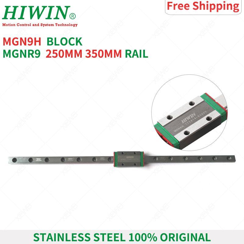 HIWIN acier inoxydable MGN9 150mm 250mm 350mm rail de guidage linéaire avec glissière MGN9H bloque les chariots série MGN9 pour imprimante 3D