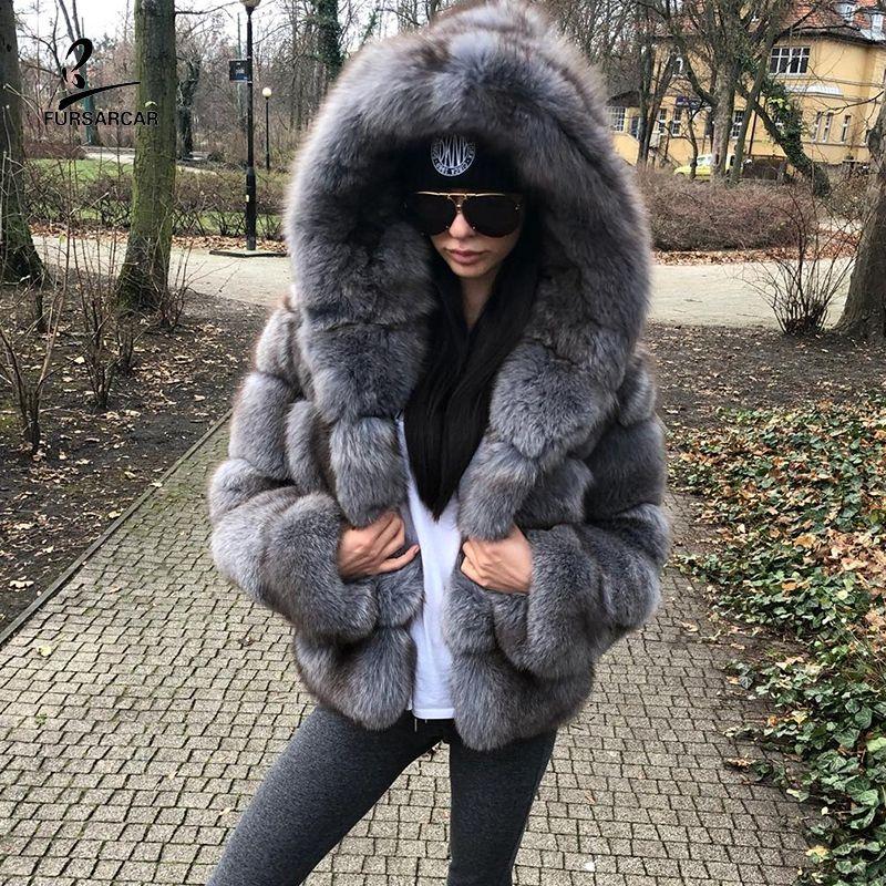 FURSARCAR Grau Blau Box Pelz Winter Jacken Und Mäntel Frauen Mit Kapuze Mode Luxus Echte Natürliche Pelz Weibliche Oberbekleidung Tuch