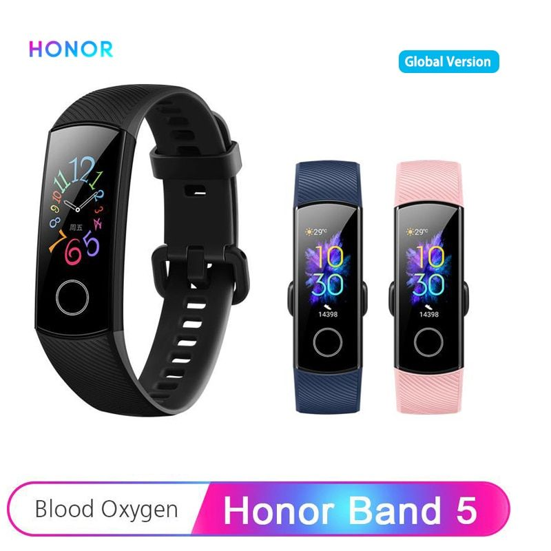 Huawei Honor Band 5 Smart Band Global Version AMOLED 0.95'' Touchscreen 5ATM Blood Oxygen Heart Rate Detect Smart Bracelet