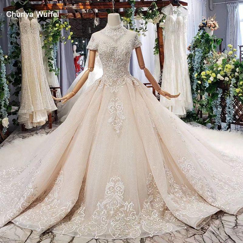 HTL634 elegante hochzeit kleid mit zug high neck kurzarm kristall spitze brautkleid rüschen zug vestidos de novia vintage